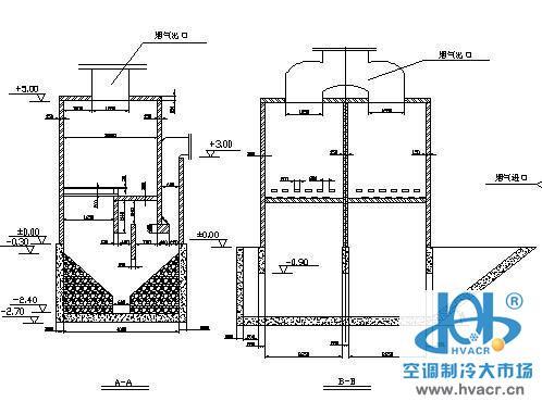 35型水浴麻石除尘器结构图-暖通设备及末端节点图