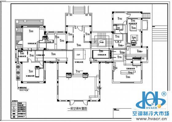 暖通空调 居住建筑; 别墅vrv设计空调平面布置图纸图片