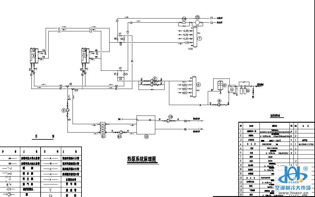 水源热泵一机三用原理图-暖通空调节点图